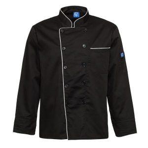 ביגוד שף - ג'קט שף - חולצת שף טרון שחור בגדי טבחים
