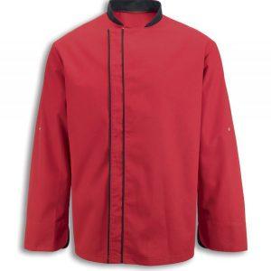 ביגוד שף - חולצת שף - ג'קט אדום סטריפ בגדי טבחים