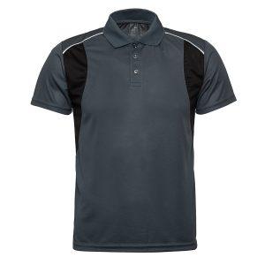 חולצת פולו דריי פיט קצר חולצות עבודה דרייפיט משולב אפור שחור
