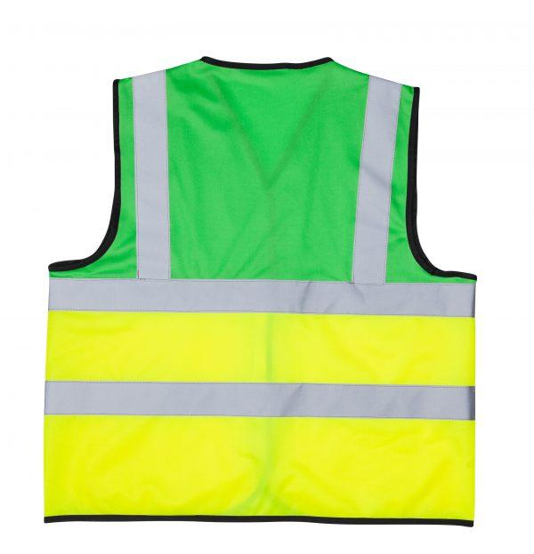 אפוד זוהר משולב צבע ירוק צד אחורי בגדי עבודה