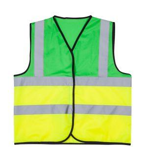 אפוד זוהר משולב ירוק צד קדמי בגדי עבודה