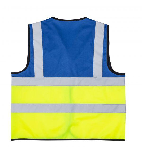 אפוד זוהר משולב צבע כחול צד אחורי בגדי עבודה