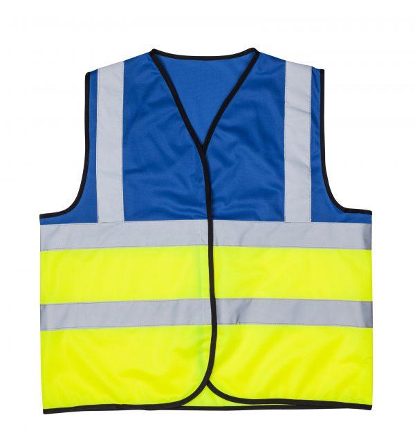 אפוד זוהר משולב כחול צד קדמי בגדי עבודה