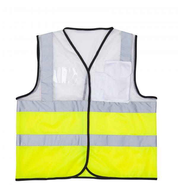 אפוד זוהר משולב לבן צד קדמי בטיחות בעבודה