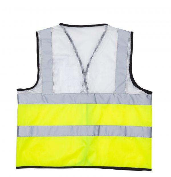 אפוד זוהר משולב צבע לבן צד אחורי בגדי עבודה